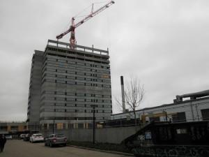 Den højeste bygning i Aarhus tager form. Her er man i gang med 13-14 etage ud af de 23.