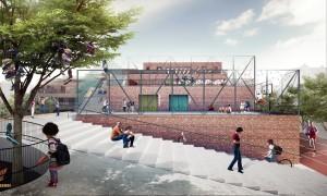 400.000 teglsten fra de gamle bygninger skal genbruges. Illustration: Henning Larsen Architechts
